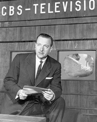 Cronkite delivers the news for CBS.