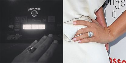 Left: Kim Kardashian's ring from rapper Kanye West. Right: Her ring from her ex-husband, basketball player Kris Humprhies.