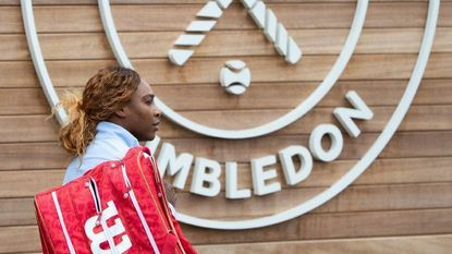 Serena Williams of USA arrives for a training session at the All England Lawn Tennis Championships in Wimbledon, London, on Wednesday, June 26, 2019. The Wimbledon Tennis Championships 2019 will be held in London from July 1 to July 14.
