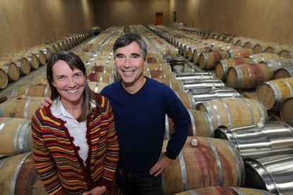 Mount Airy, MD-11/25/14-Ed Boyce and Sarah O'Herron are pictured in the barrel room of their business, Black Ankle Vineyards.