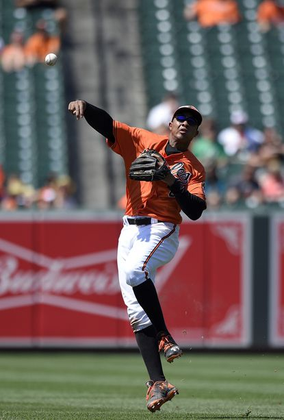 Baltimore Orioles second baseman Jonathan Schoop (6) throws to first to get out Tampa Bay Rays' Tim Beckham during the seventh inning of the first baseball game in a split doubleheader, Saturday, June 25, 2016, in Baltimore. The Orioles won 5-0.