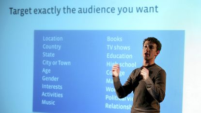Facebook CEO and founder Mark Zuckerberg speaks to press and advertising partners in 2007.