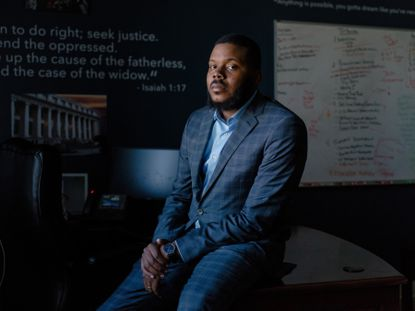 Michael Tubbs, mayor of Stockton, California, the country's first city to experiment with guaranteed income, at his office April 23, 2018. He is leading a push to expand the idea with a new initiative, Mayors for a Guaranteed Income. (Jason Henry/The New York Times).