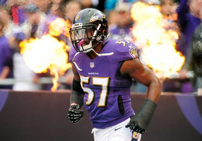 Baltimore Ravens linebacker C.J. Mosley (57) gets introduced prior to the game against the Cleveland Browns at M&T Bank Stadium on Dec. 28, 2014.