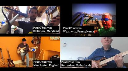 The members of The Paul O'Sullivan Band record their music in a virtual setting from four different locations around the world.