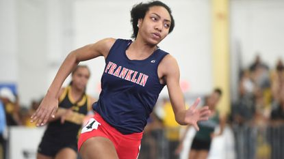 Franklin's Cameron Hinton wins the Class 3A 300-meter dash during the MPSSAA state indoor track and field championships at Prince George's Sports & Learning Complex on Tuesday, Feb. 20, 2018.