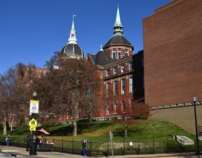 Johns Hopkins Hospital is seen from the corner of Jefferson and Broadway in East Baltimore.