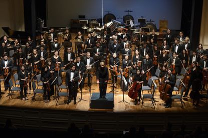Marin Alsop and the Peabody Symphony Orchestra.
