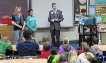 Maryland Secretary of the Environment Ben Grumbles talks with fifth-graders at Hickory Elementary about the importance of groundwater.