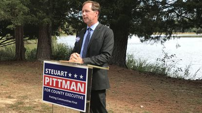 Steuart Pittman announced his plan to ban developers from donating to political campaigns when they have applications pending before the county. The Democratic candidate for county executive has been critical of developers' influence in local politics.