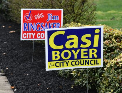 Campaign signs dot the landscape around Havre de Grace. The City Council voted on Monday to push back the election, which had been scheduled for May 5, to within 60 days of the governor lifting the state of emergency in place across Maryland.