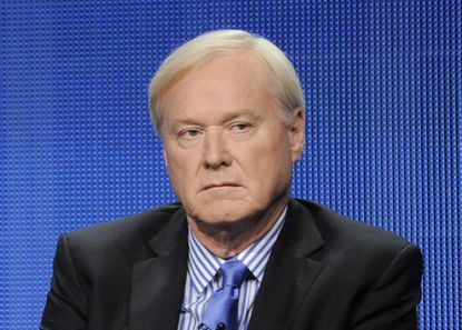 """This file photo shows MSNBC host Chris Matthews taking part in a panel discussion in Beverly Hills, Calif. Matthews announced his retirement on his political talk show """"Hardball with Chris Matthews"""" on Monday."""