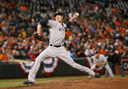 Andrew Miller struck out three Orioles batters in a five-out save on Monday night.