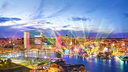 A rendering of what the light installations at Light City Baltimore could look like.