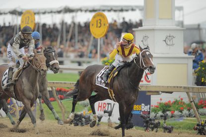 """Jockey Calvin Borel gestures as filly Rachel Alexandra (right) races to victory in the 134th Preakness Stakes. She held off Mine That Bird (left) and Musket Man at the wire, becoming the first filly to win the middle jewel of the Triple Crown since 1924. """"She showed the heart and skill of a champion,"""" owner Jess Jackson said."""