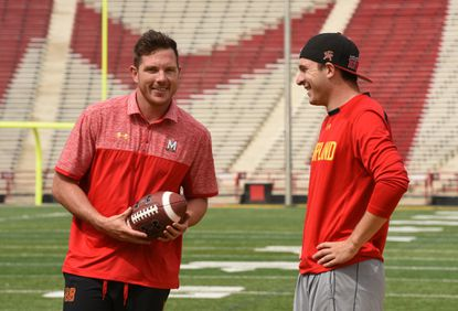 Wade Lees, 28, of Australia, left, is the freshman punter for the University of Maryland, after ending his career as an Aussies Rules footballer. He is following another Aussie, former College Park kicker Brad Craddock, right.
