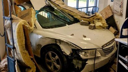 A car crashed into a Cockeysville post office Monday, Baltimore County police said.