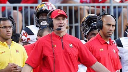 Maryland head coach D.J. Durkin reacts to a referee's call against Ohio State during the first half in Ohio on Oct. 7.