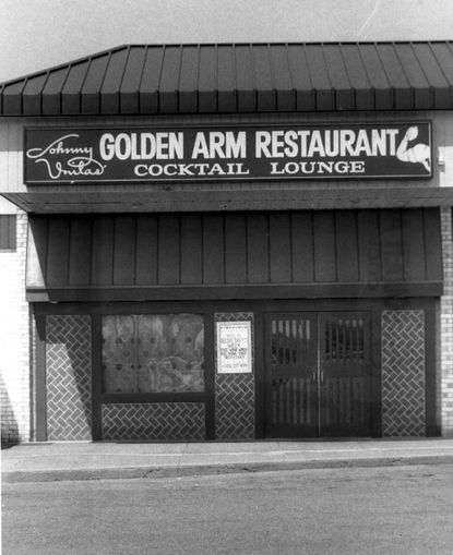 """John Unitas' Golden Arm Restaurant on York Road, pictured here in 1984, is among the old dining venues mentioned in the new book """"Lost Restaurants of Baltimore."""""""