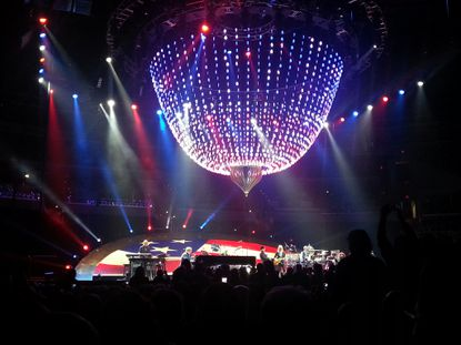 """Elton John and his band performed 27 songs, including """"Philadelphia Freedom,"""" pictured above, at the Verizon Center in Washington on Nov. 14."""