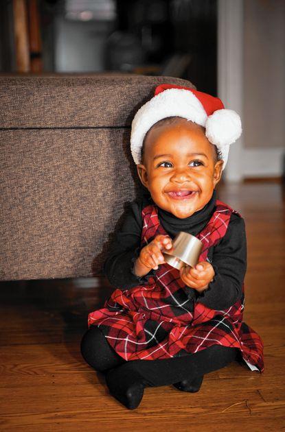 Tanika Davis' daughter at age 9 months, at Christmas 2012.