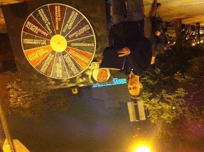 Activists set up 'wheel of misfortune' to oppose 'fracking'