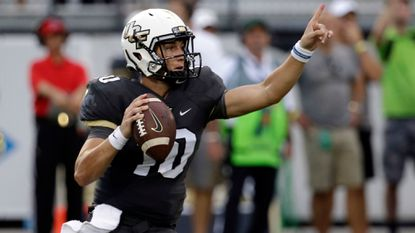 Central Florida quarterback McKenzie Milton throws a pass against Florida International during the first half of a game Thursday, Aug. 31, 2017, in Orlando, Fla.
