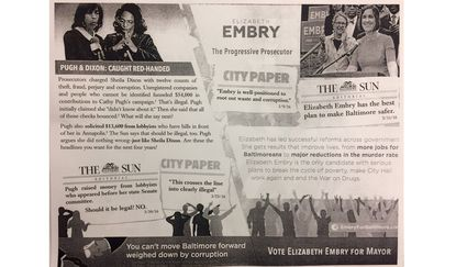 A flyer circulated by Elizabeth Embry's campaign