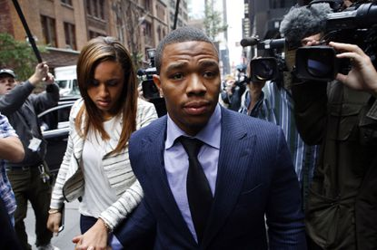 FILE - In this Nov. 5, 2014, file photo, Ray Rice arrives with his wife Janay Palmer for an appeal hearing of his indefinite suspension from the NFL in New York. For all that went right on the field, the NFL took a big hit off it with domestic violence issues. (AP Photo/Jason DeCrow, File) ORG XMIT: NY150