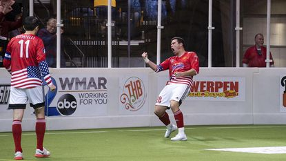 Vini Dantas celebrates during the Blast's win over the Sockers. He had a goal and two assists in the victory.
