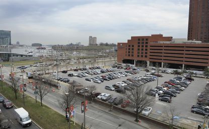 4/3/14 Baltimore, Md. Looking south-east towards Federal Hill at the Inner Harbor - parking lot at corner of Conway and 414 Light Street. Photo by Jeffrey F. Bill / Baltimore Sun Staff Photographer