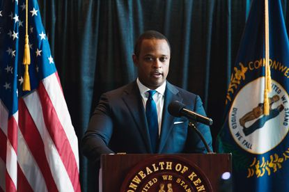 Kentucky Attorney General Daniel Cameron speaks during a press conference to announce a grand jury's decision to indict one of three Louisville Metro Police Department officers involved in the shooting death of Breonna Taylor on Sept. 23 in Frankfort, Kentucky.