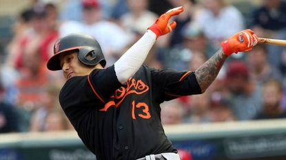 Manny Machado bats against the Minnesota Twins on July 6.