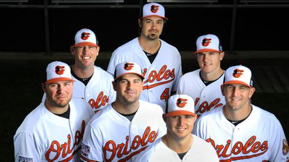 Clockwise from top, Orioles relief pitchers Andrew Miller, Brad Brach, Darren O'Day, Zach Britton, T.J. McFarland, Tommy Hunter and Brian Matusz have been a big part of the club's success this season.