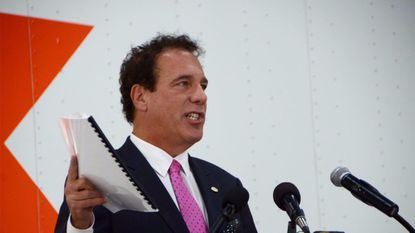 September 20, 2017 --Baltimore County Executive Kevin Kamenetz at a ribbon-cutting ceremony at a FedEx distribution center at Tradepoint Atlantic in Sparrows Point.
