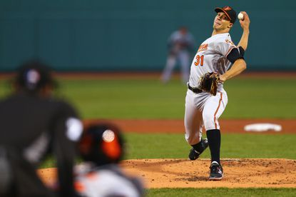 Orioles starterUbaldo Jimenez Orioles pitches against the Boston Red Sox during the first inning at Fenway Park on April 13, 2016 in Boston.