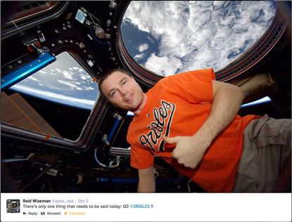 While aboard the International Space Station, Reid Wiseman proclaiming his backing forthe Baltimore Orioles.