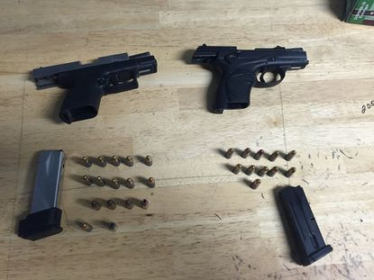 These guns - a Springfield XD 9 mm handgun that was loaded with 16 rounds and a Beretta 9 mm handgun that was loaded with 11 rounds - were seized by Baltimore police during a vehicle stop in 2016.