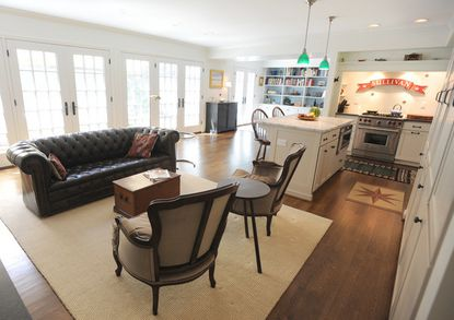 The home has an open floor plan where the kitchen flows into the living room.
