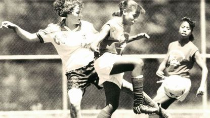 Players in a May 28, 1989, Soccer Association of Columbia Memorial Day tournament at Centennial High School in Ellicott City.