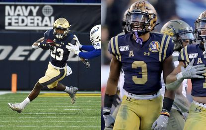 Navy's Myles Fells, seen on the left against Tulsa last weekend, and Cameron Kinley, shown against Army last season, will leave the football field as lifelong friends and leaders off it.