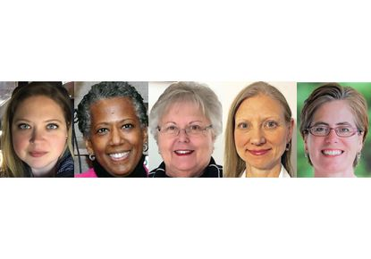 2020 candidates for the Carroll County Board of Education, from left, Stephanie R. Brooks, Virginia R. Harrison, Marsha B. Herbert, Mary Kowalski and Donna Sivigny.