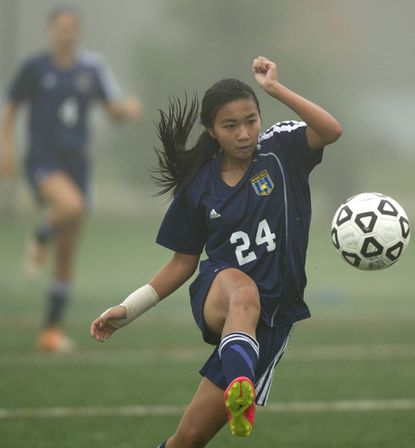 River Hill's Victoria Tran, seen here controlling the ball in a file photo from earlier this season, scored the lone goal Tuesday in a 1-0 Hawks' victory over Reservoir.