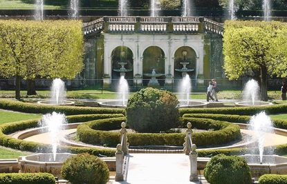 """Longwood's Main Fountain Garden. (In 1906 Pierre S. Du Pont purchased the land to save its collection of historic trees. Preservation efforts have expanded making it """"one of the world's great horticultural showplaces."""