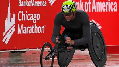 Daniel Romanchuk of the United States wins the Wheelchair division at the Chicago Marathon in Chicago on October 7, 2018.