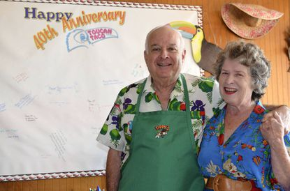 Laszlo and Lita Payerle, the original owners of Tippy's Taco House, now called Toucan Taco, celebrate 40 years of business.