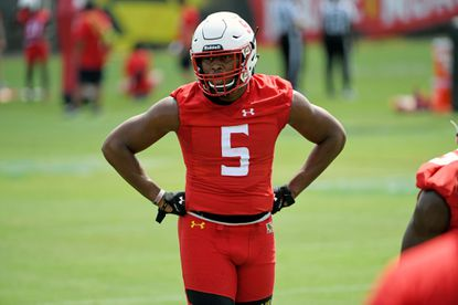 Shaq Smith, University of Maryland LB, at the Terps training camp on media day.