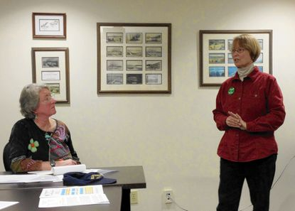"Morita Bruce, president of the Friends of Harford volunteer group, speaks to the Darlington Community Council Wednesday about ""responsible land use"" in Harford County. Council Secretary Jane Howe listens as Bruce talks."