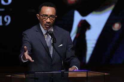 Kwiesi Mfume, board chairman of Morgan State University, speaks during funeral services for the late U.S. Rep. Elijah Cummings, Friday, Oct. 25, 2019, in Baltimore.