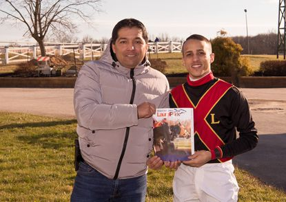 Trainer Claudio Gonzalez, left, and jockey Jevian Toledo clinched top honors during Laurel Park's fall meet.